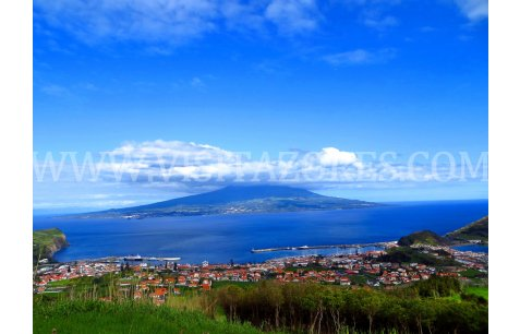 Faial - view over Horta to Pico island